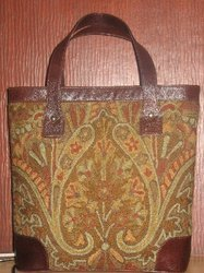 Crewel Paisley Tapestry Brown Tote