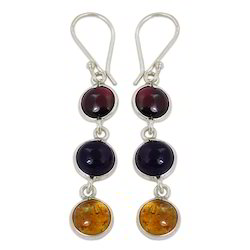 tourmaline gemstone with 925 sterling silver earring