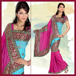 Princess Pink Viscose Saree With Blouse (150)
