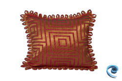 Cushion Cover With Golden And Pink Abstract Design