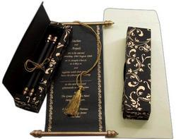Black Elegant Scroll Invites