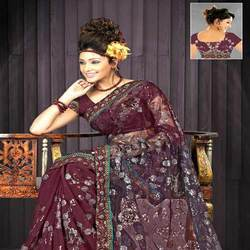 Georgette Sarees With Tissue Border