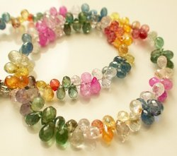 Multi Color Sapphire Micro Faceted Briolette Beads