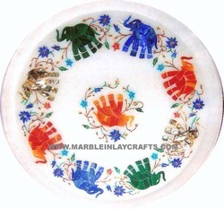 White Marble Inlay Decorative Plate
