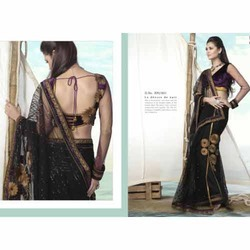 Black Golden Embroidered Net Sarees