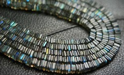 Blue Fire Labradorite Smooth Polished Heishi Cube Beads