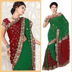 Deep Green Faux Georgette Lehenga Style Saree (82)