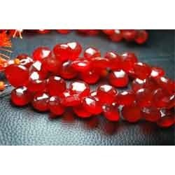 Red Tomato Chalcedony Faceted Heart Briolettes