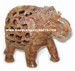 Soapstone Undercut Elephants