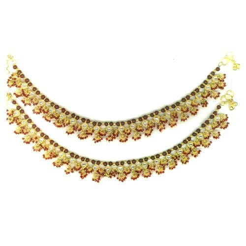 Silver Plated Kundan Payal