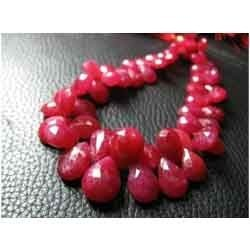Super Finest Red Ruby Micro Faceted Pear Briolettes