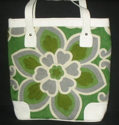 Crewel Lotus Flower Green and White Tote