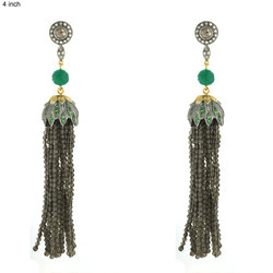 Designer Smoky Gemstone Tassel Earrings