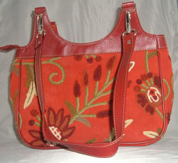 Crewel Handbag Marigold Red Cotton