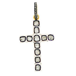 Rosecut diamond Cross Pendant