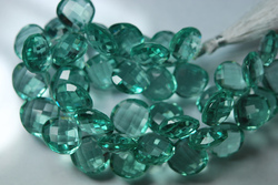 Green Amethyst Color Quartz Faceted Heart Briolettes