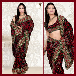 Black Viscose Saree With Blouse (129)