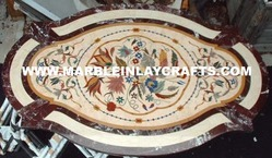Marble Inlay Oval Table Top