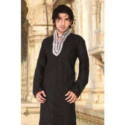 Black Embroided Silk Kurta Pajayma