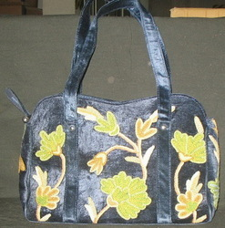 Crewel Handbag Flowers in the Dark Black Rayon Velvet