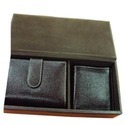 Leatherette Black Wallets Set