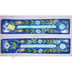 Blue Pottery Incense Holder Stand