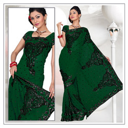 Forest Green Faux Georgette Saree With Blouse (222)
