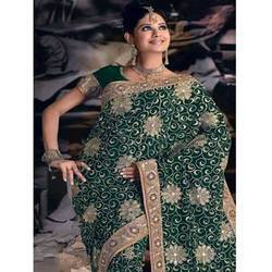 Green Saree With Resham, Zari And Sequins