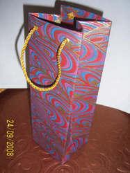 Handmade Screen Printed Paper Wine Bottle Bag