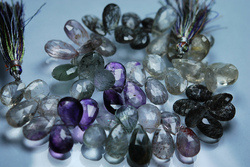 Moss Amethyst Faceted Pear Briolettes