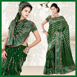 Deep Green Faux Georgette Saree With Blouse (50)