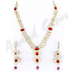 Two Line Diamond Polki Necklace