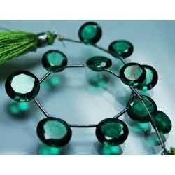 Emerald Green Quartz Faceted Cut Stone Coin Briolettes