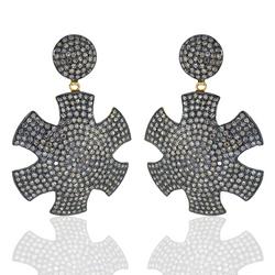 925 Sterling Silver Diamond Designer Dangle Earrings
