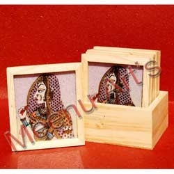 Wooden Tea - Coaster With Gemstone Painting