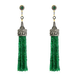 Pave Diamond Emerald Tassel Earrings