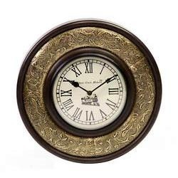 Wood With Brass Antique Clock