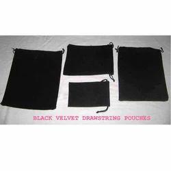 Black Velvet Drawstring Pouches