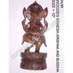 Wooden Antique Ganesha With Standing