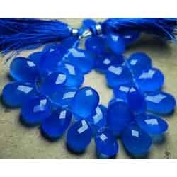 Cobalt Blue Chalcedony Faceted Pear Briolettes, 8 inches