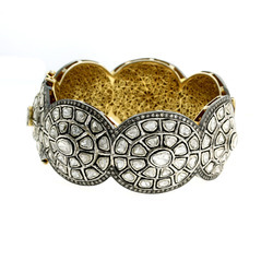 18k Gold Pave Rose Cut Diamond Bangle Jewelry