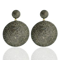Victorian Look Pave Diamond Disc Handmade Earrings