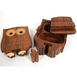 Wooden Handicraft Games Owl Puzzle Box Exporter From New Delhi