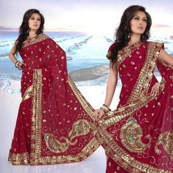 Maroon Faux Georgette Saree With Blouse