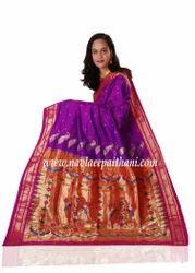 Purple Brocade Pallu Paithani Saree