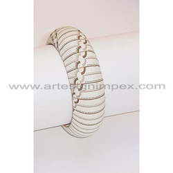 White Faux Leather Bangles