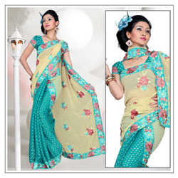 Enchanting Turquoise Viscose Saree With Blouse (211)