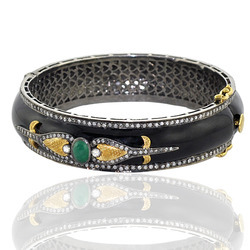 Pave Diamond Enamel Bangle