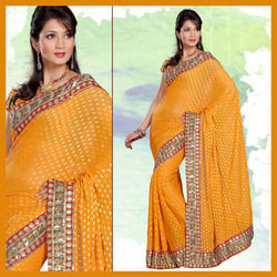 Gracious Golden Yellow Viscose Saree With Blouse (141)