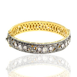 Pave Rose Cut Diamond Gold JewelryBangle Jewel